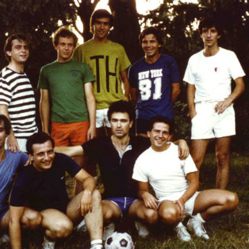 Football team in summer course, Pavia, 1981