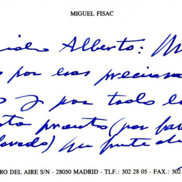 Letter from Miguel Fisac, 1996