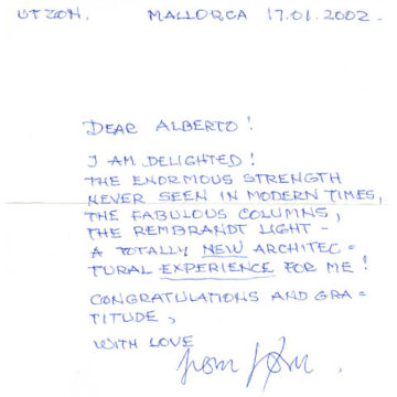 Letter from Jorn Utzon, 2002
